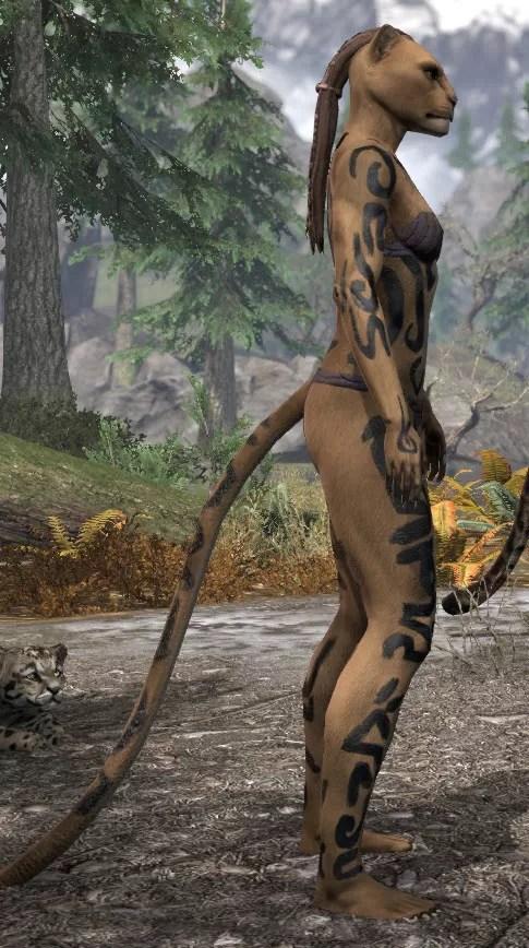 Forsaken Sacrifice Body Markings - Khajiit Female Right