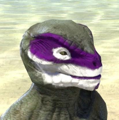 Prankster Purple Face Paint - Argonian Male Side