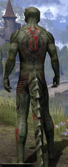 Shattered Chivalry Body Tattoo - Argonian Male Rear