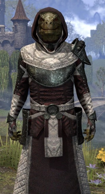 Silver Rose Light - Argonian Male Robe Close Front