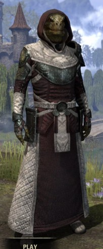 Silver Rose Light - Argonian Male Robe Front