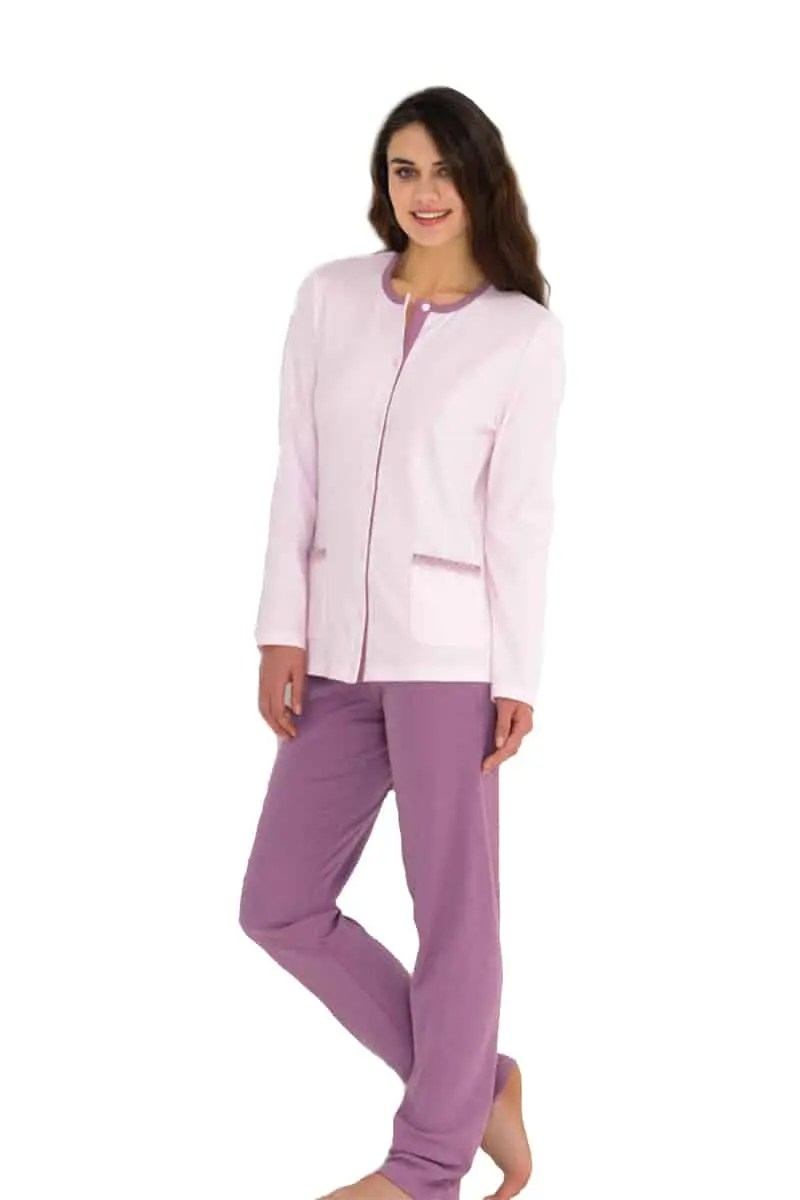 Women's Pajamas With Pink Buttons -