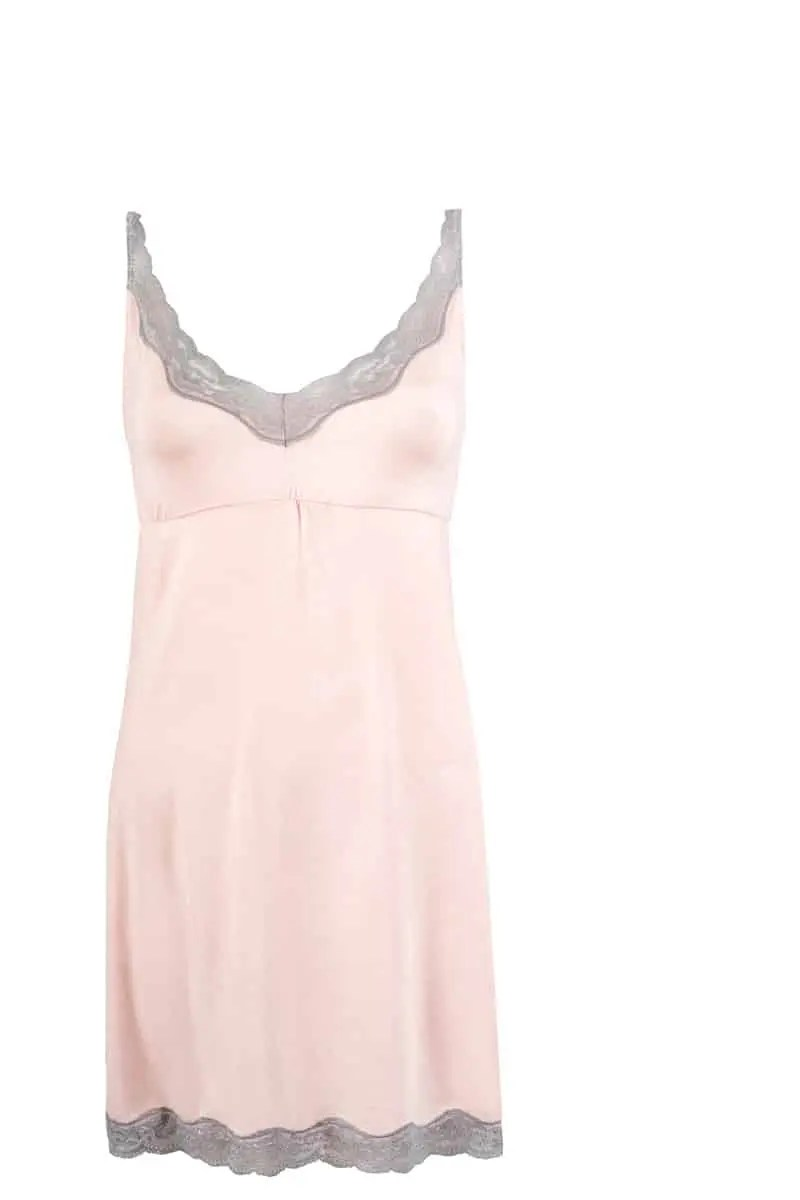 Jessica Women's Nightgown With Gray Lace -
