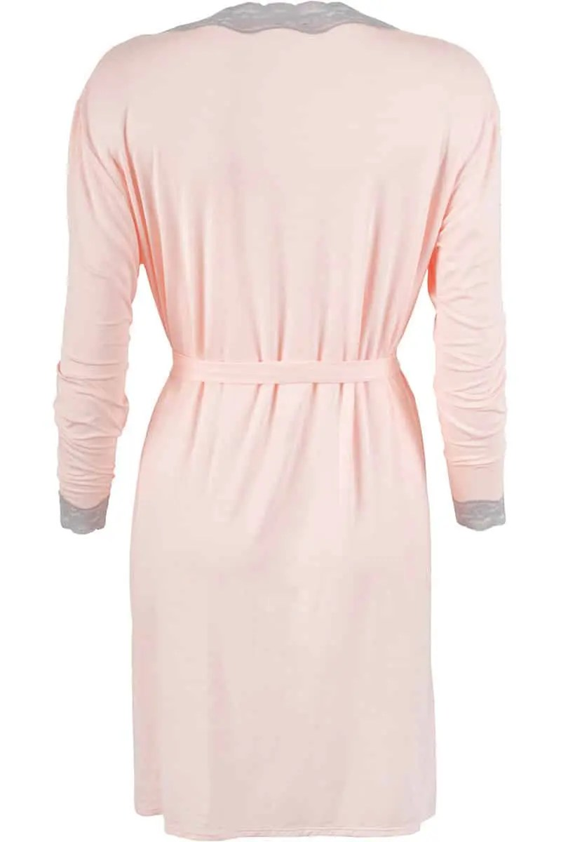 Women's Tifany Robe With Gray Lace Pattern -