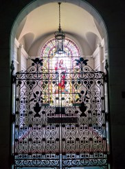 Oak Grove Cemetery mausoleum stained glass and gate