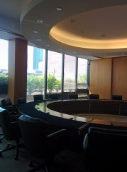 Futuristic board room in the Peirera corporate HQ