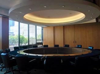 Futuristic board room in the Peirera corporate HQ