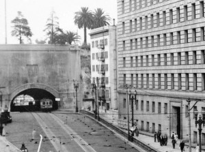 Southern Facade of Broadway Tunnel-Hall of Justice & Hotel Alhambra on right