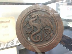 Hand-carved stool by Reginald Machell, for his friend and colleague Kenneth Morris.