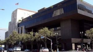 Pereira Times Mirror HQ (1971) next to Kaufmann Building (1935)