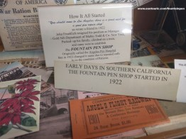In the mini-museum, a commemorative ticket to Angels Flight before it was closed, and shop history.
