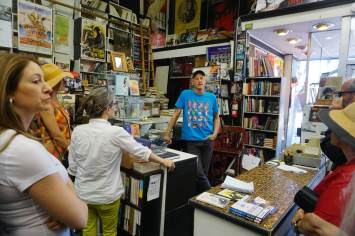 Jeff Mantor at the front counter of the Larry Edmunds bookshop