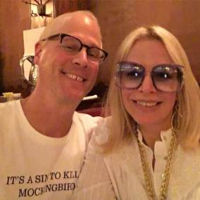 """Alison Martino & Jeff Mantor at Musso & Frank Grill for """"Once Upon A Time In Hollywood,"""" filming which recreated the Larry Edmunds Bookshop at its former Hollywood Blvd locatoin."""