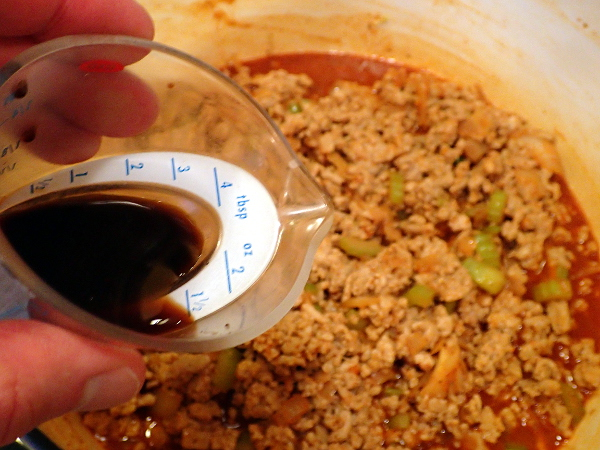Pour in Worcestershire sauce
