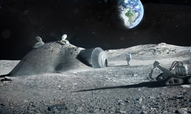 3d render of resources utilization on the moon