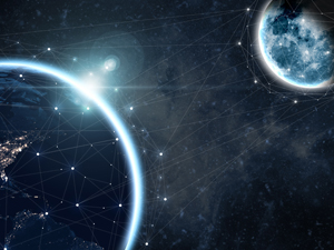 earth and moon with logistics network
