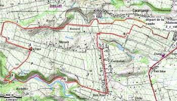 """Carte du parcours de la randonnée """"Boucle de Doyon_Carangaise"""""""