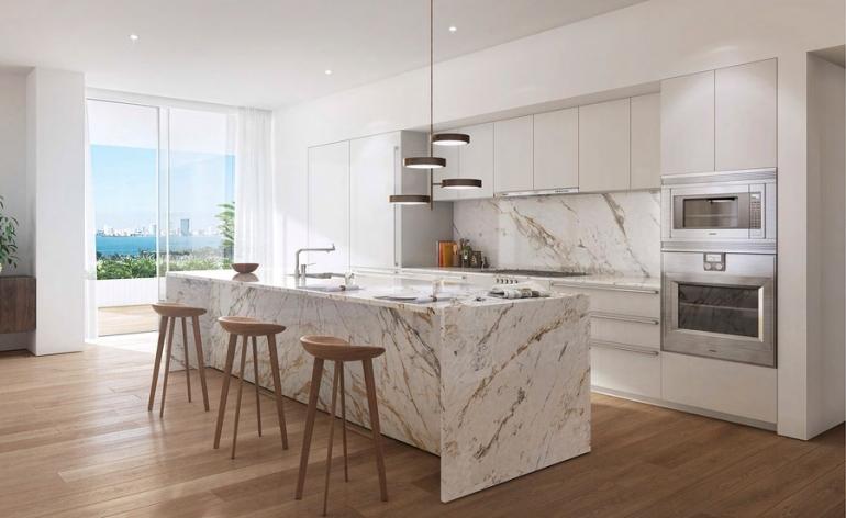 Du marbre pour la cuisine et la salle de bains  Espaces Contemporains