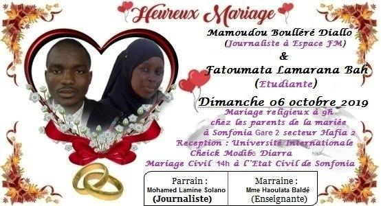 Carnet rose : le journaliste Mamoudou Boulléré DIALLO se marie le 6 octobre prochain à Conakry