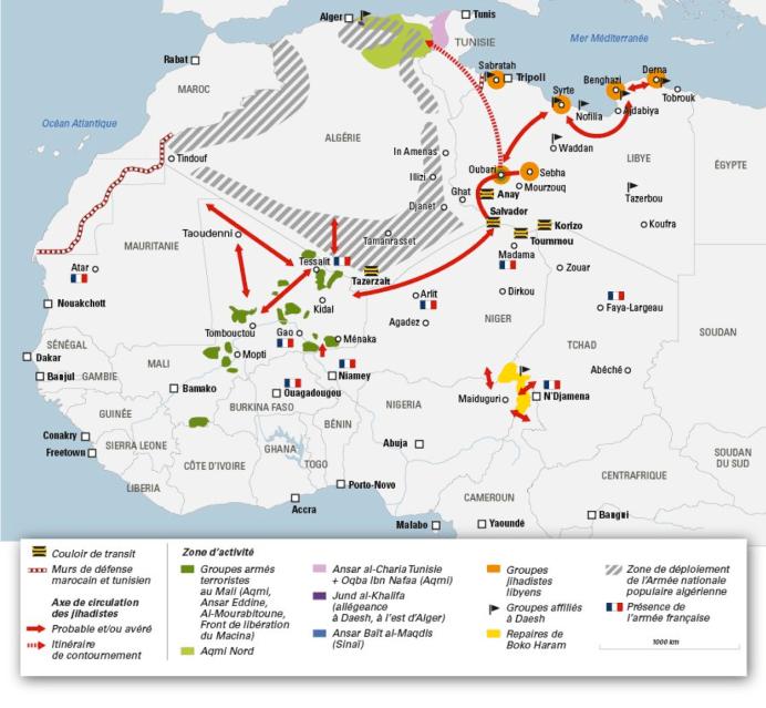 Mapa de la localización de los grupos yihadistas en África por Jeune Afrique