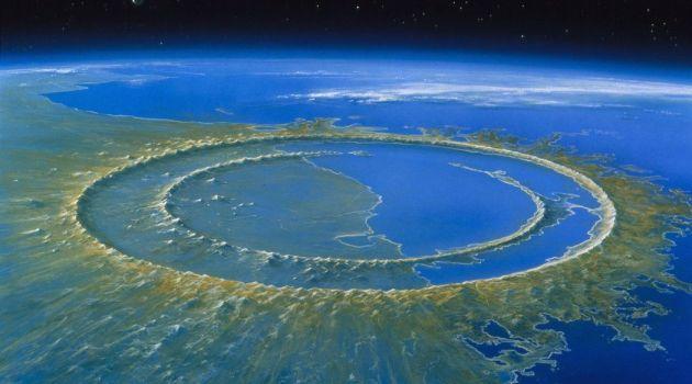 Representación artística del cráter de Chicxulub (fuente: The New York Times)