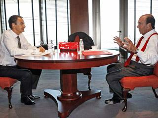 Zapatero-y su jefe el banquero Emilio Botin