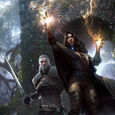 Geralt e Yennefer no jogo Witcher 3: Wild Hunt