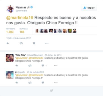 neymar jr escrevendo em espanhol