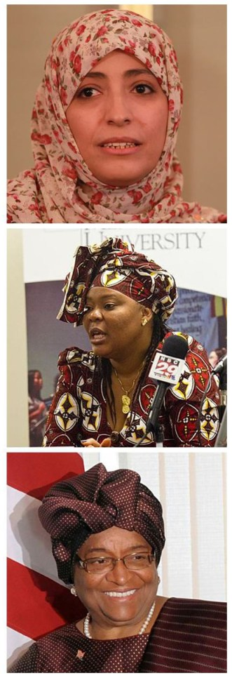 Los galardonados al Premio Nobel de Paz del 2011 (desde arriba) La activista pacífica Yemeni Tawakkol Karman, la trabajadora social Liberiana Leymah Gbowee y la Presidenta Liberiana Ellen Johnson Sirleaf. (Fotos Creative commons)