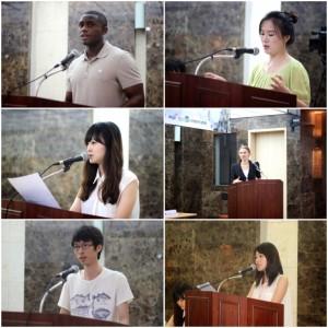 Estudiantes universitarios representando las naciones del Grupos de los seis insisten en la unificación Coreana.
