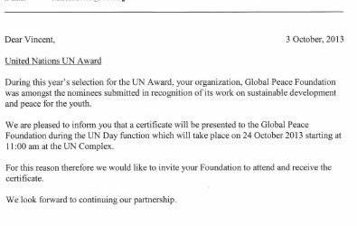 GPF Recibe Reconocimiento de la ONU