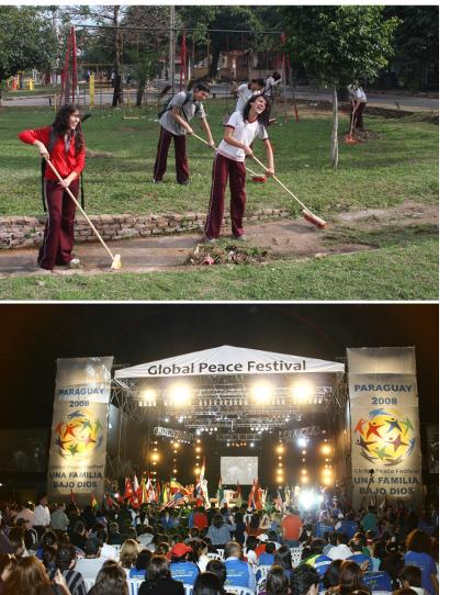 La Fundación Paz Global organizó proyectos de impacto social en Asunción (arriba) antes del Festival Paz Global, el cual reunió alrededor de 30 mil jóvenes para celebrar el patrimonio cultural de Paraguay.