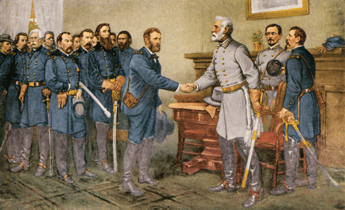 La rendición del General Lee durante la finalización de la Guerra Civil de EEUU