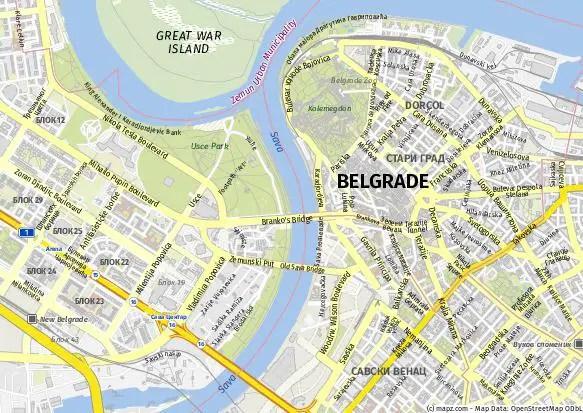 Mapa de Belgrado