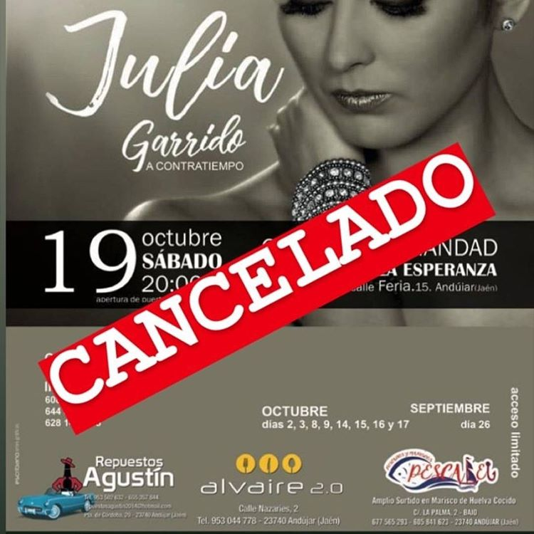 Suspensión del evento musical de Julia Garrido