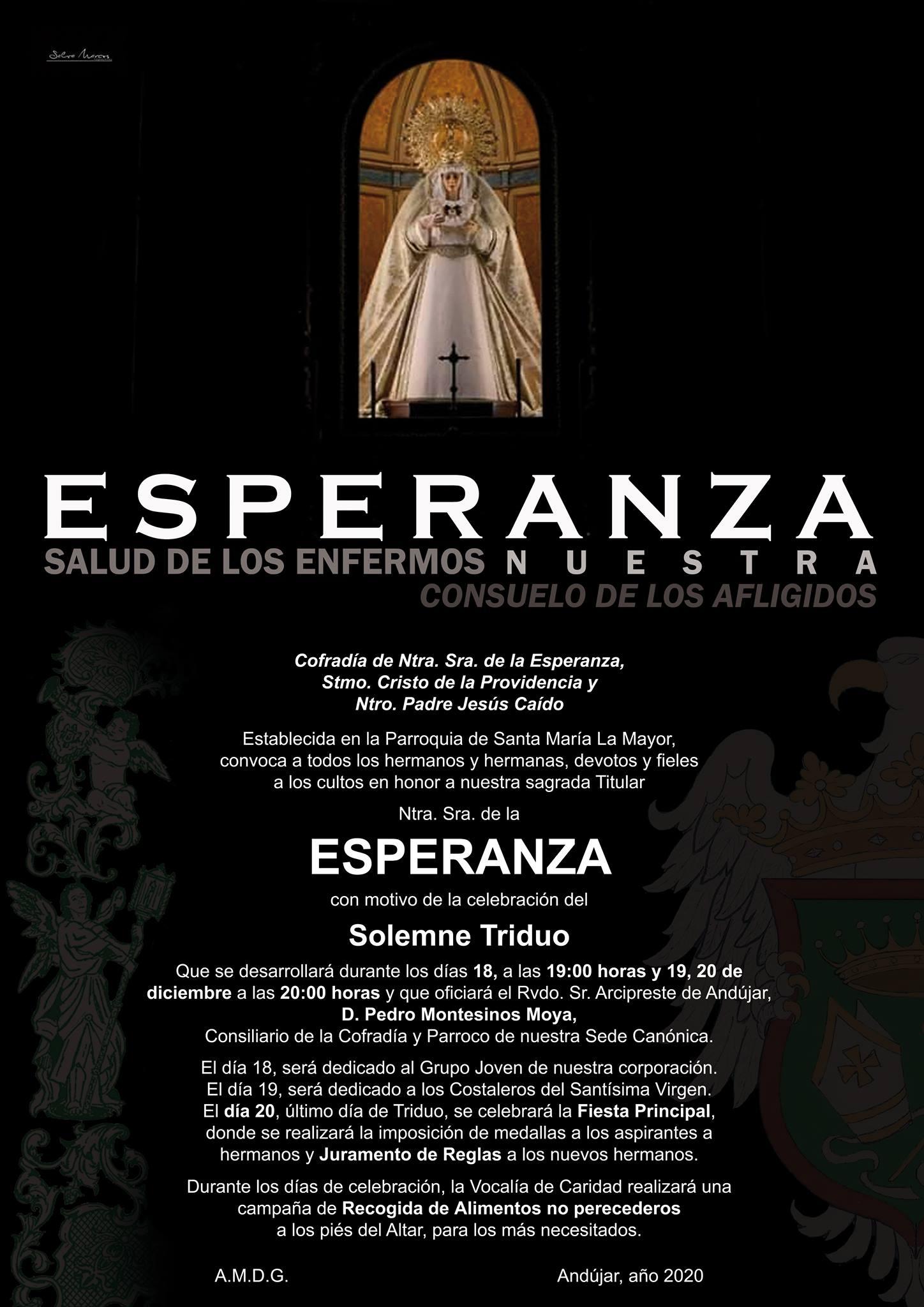 Cartel del Triduo en Honor a Ntra. Sra. de la Esperanza 2020