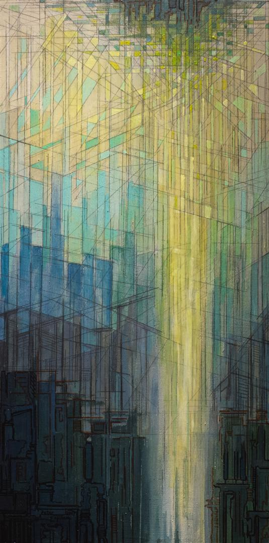 LAYERED PATCHWORK - acrylic, graphite & pigment marker on wood panel - 30x60cm