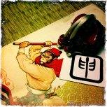 Saru 申, mono. Kanji de horóscopo, en estilo Tensho.