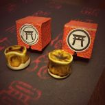 Sellos ornamentales con diseño de Kamon de Torii.