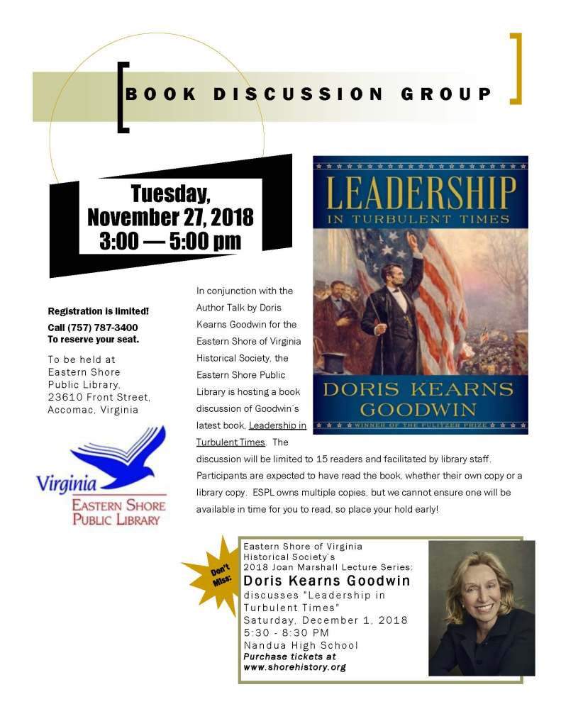 Goodwin book discussion group Nov 27 2018
