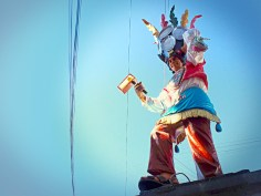 Statua maschera ballo tradizionale, Chiway, Perù