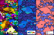 Using EBSD to measure intragranular lattice distortions (mis2mean), as a way of separating old, relict grains from new, recrystallized grains. Recrystallized grain sizes in exhumed rocks are widely used to calculate the stress state of the Earth's interior. Read more here