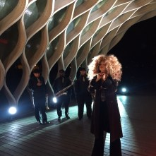 LION BABE's Jillian Hervey participates in a shoot in Chicago for ESPN's NFL Draft coverage (Credit: ESPN/Lucas Nickerson)