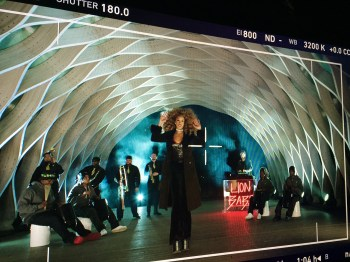 LION BABE's Jillian Hervey and Lucas Goodman participate in a shoot in Chicago for ESPN's NFL Draft coverage (Credit: ESPN/Jeremy Anderson)