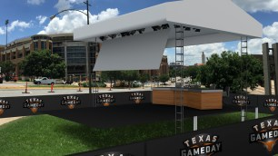 A rendering of the Texas GameDay set without the Airstream trailer