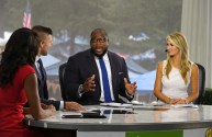 Oxford, MS - September 17, 2016 - The Grove: Marcus Spears and Laura Rutledge on the set of SEC Nation (Photo by Thomas Graning / ESPN Images)