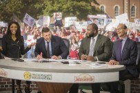 Fayetteville, AR - November 5, 2016 - University of Arkansas: Maria Taylor, Tim Tebow, Marcus Spears and Paul Finebaum on the set of SEC Nation (Photo by Gunnar Rathbun / ESPN Images)