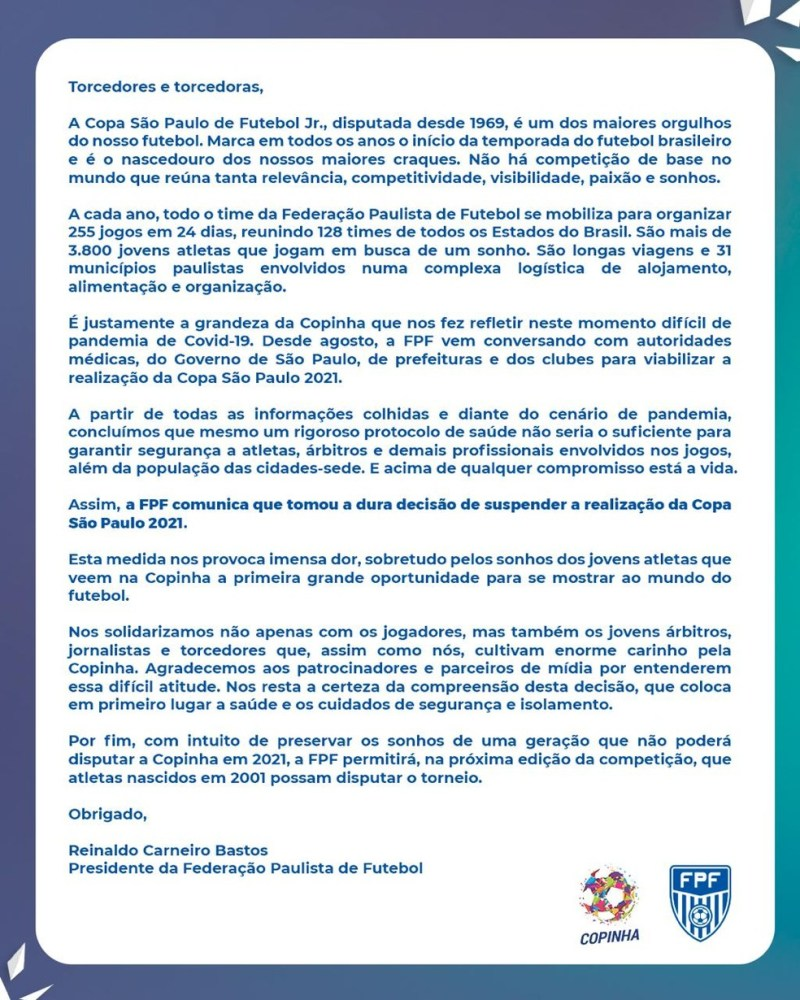 Comunicado da FFP sobre o cancelamento da Copinha de 2021 — Foto: Divulgação