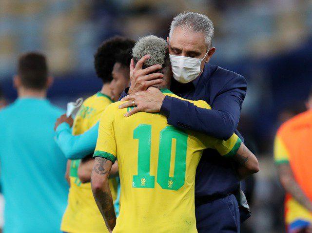 Tite e Neymar na final da Copa América 2021
