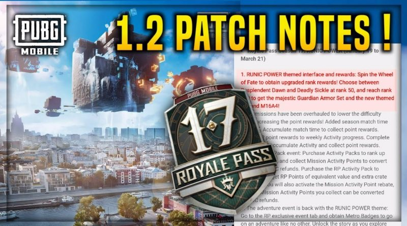 Patch Notes 1.2 PUBGM